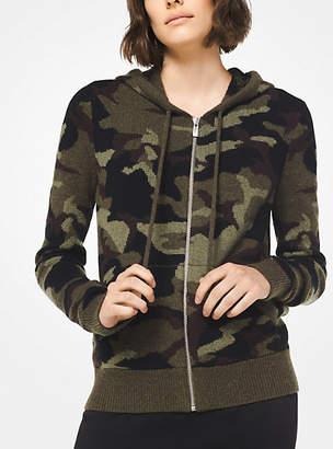 Michael Kors Camouflage Cashmere Zip-Up Hoodie