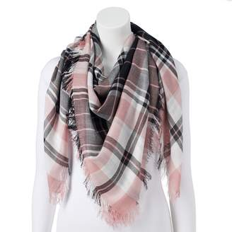 Candies Women's Candie's Pink Plaid Square Scarf