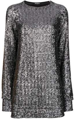 Balmain sequin embroidered mini dress