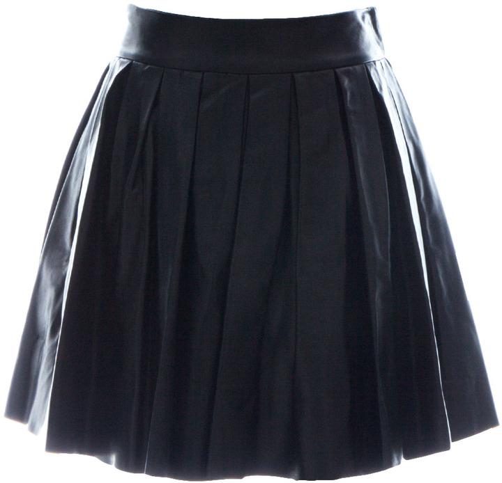 Alice + Olivia Box Pleat Lthr Mini Skirt