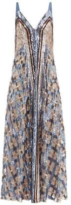 Temperley London Akiko Sequin Embroidered Maxi Dress - Womens - Blue Multi