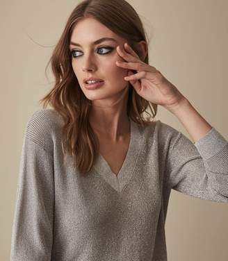 Reiss LEANNA METALLIC V-NECK JUMPER Silver Metallic