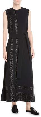 Derek Lam Sleeveless Long Paneled Sequin A-Line Crepe Dress w\/ Self-Belt