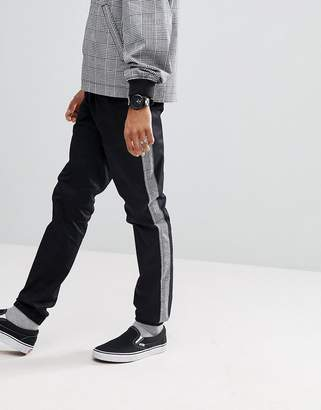 Asos Design Skinny Joggers Co-ord With Check Side Stripe In Black