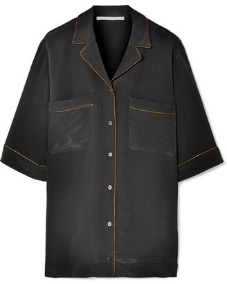Stella McCartney Metallic-trimmed Silk Crepe De Chine Shirt - Black