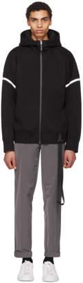 BLACKBARRETT by NEIL BARRETT Black Drop Shoulder Zip Hoodie