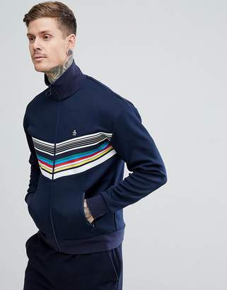 Original Penguin Rainbow Chevron Track Jacket Slim Fit Small Logo in Navy