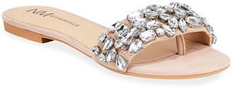 Neiman Marcus Jeweled Suede Flat Slide Sandals