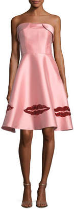Sachin + Babi Levent Metallic Lip Bustier Strapless Dress