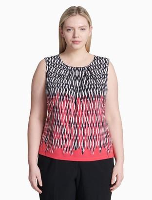 Calvin Klein plus size printed pleat neck sleeveless top