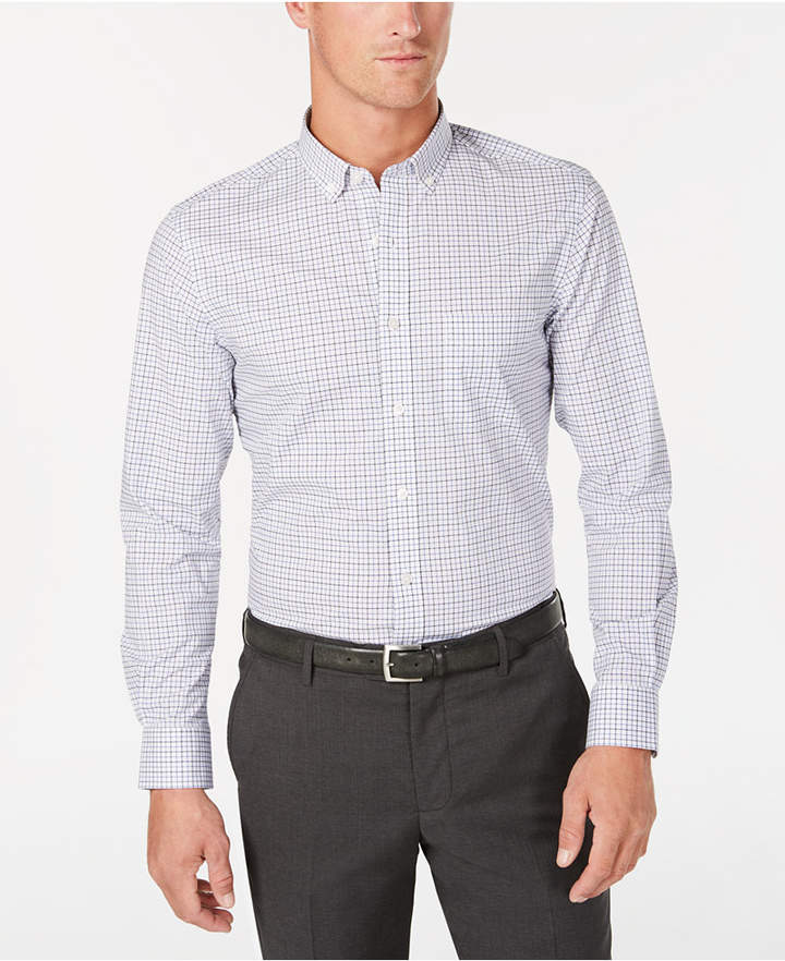 Club Room Men's Micro-Windowpane Performance Shirt, Created for Macy's