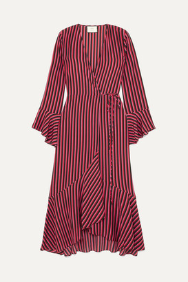 Rixo Laura Jackson Luna Striped Silk-crepe Wrap Dress - Red