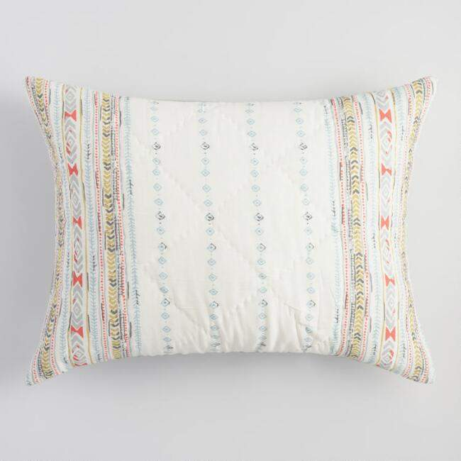 Blue and Coral Squares Dalia Pillow Shams Set of 2
