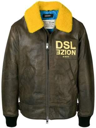 Diesel contrast logo zipped jacket