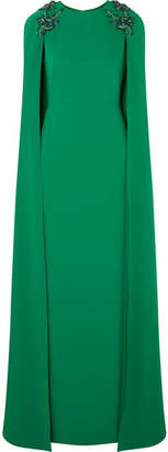 Marchesa Cape-effect Embellished Crepe Gown - Emerald
