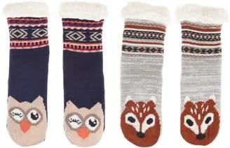 Muk Luks Critter Cabin Socks with Furpa Lining Set of Two