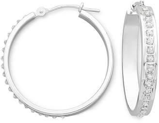 JCPenney FINE JEWELRY Diamond Fascination 14K White Gold Medium Hoop Earrings