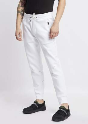 Emporio Armani Stretch Cotton Jogging Pants With Logo Bands