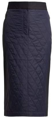 Tibi Quilted Nylon And Twill Pencil Skirt - Womens - Navy