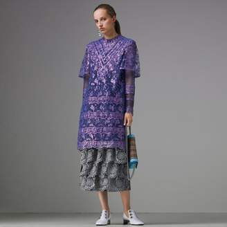 Burberry Laminated Lace Cape Sleeve Dress , Size: 04, Purple