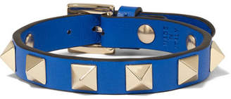 Valentino Garavani The Rockstud Leather And Gold-tone Bracelet - Cobalt blue