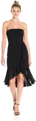 Carmen Marc Valvo Women's Strapless Ruffle Dress