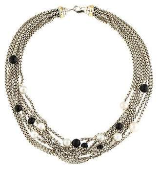 David Yurman Pearl & Onyx Eight Row Necklace