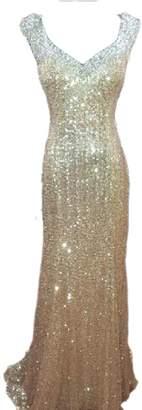 Ikerenwedding Women's Sequins Rhinestone Evening Gown Formal Prom Dresses