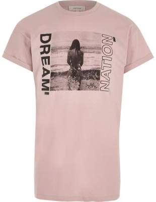 River Island Mens Pink 'dream nation' photograph print T-shirt