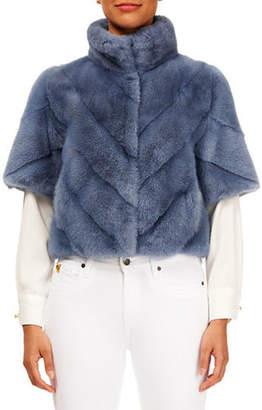 Gorski Chevron Mink-Fur Short-Sleeve Bolero Jacket