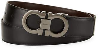Salvatore Ferragamo Men's Reversible Leather Double-Gancio Belt