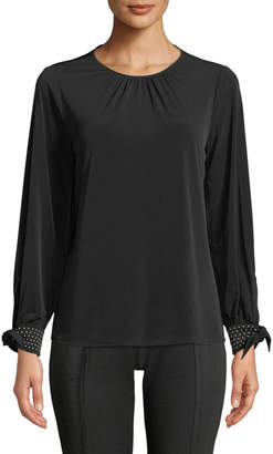 MICHAEL Michael Kors Long-Sleeve Beaded-Cuff Blouse