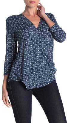Loveappella Geometric Print Draped Shirt