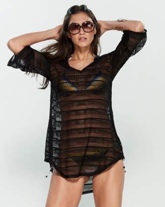 Jordan Taylor Crochet Bell Sleeve Tunic Swim Cover-Up