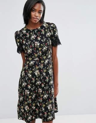 Oasis Longer Line Floral Print Lace Sleeve Dress $72 thestylecure.com