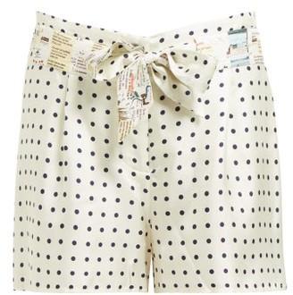 La Prestic Ouiston Mumbai Polka Dot Print Silk Twill Shorts - Womens - White Black