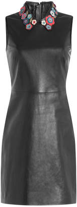 RED Valentino Leather Mini-Dress with Floral Collar