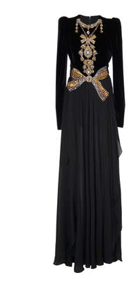 Elie Saab Velvet Crepe Georgette Embroidered Long Dress