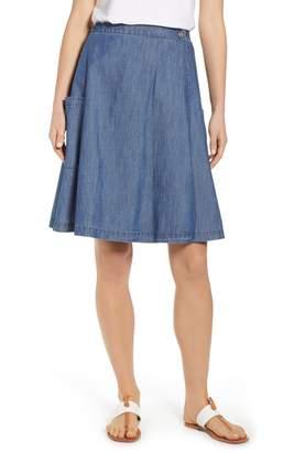 Caslon Side Pocket Chambray Wrap Skirt