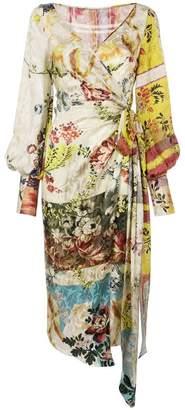 Oscar de la Renta wrap-style print dress