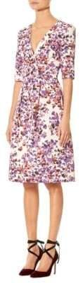 Carolina Herrera Floral Elbow Sleeve Dress