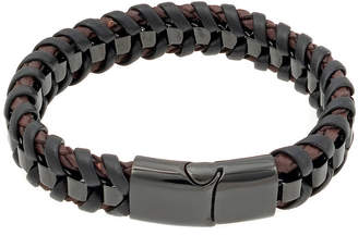 FINE JEWELRY Mens Braided Leather Bracelet with Black Stainless Steel Magnetic Clasp