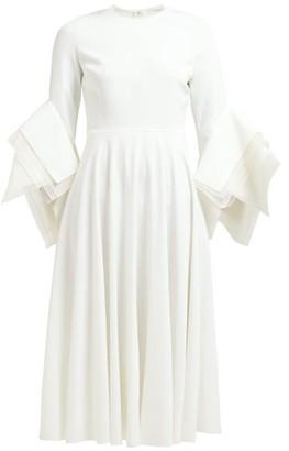 Roksanda Ayres Folded Sleeve Midi Dress - Womens - Ivory