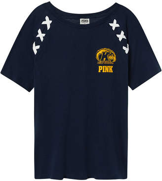 PINK Kent State University Crop Lace-Up Raglan Sleeve Tee