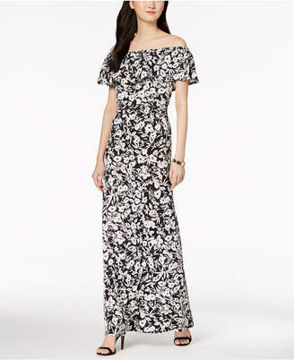 NY Collection Petite Floral-Print Ruffled Dress