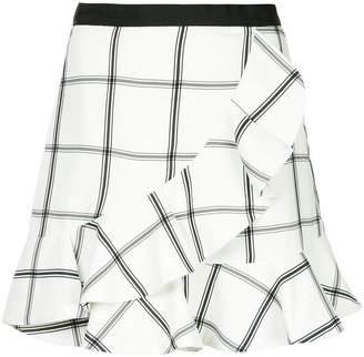 Self-Portrait checked mini a-line skirt