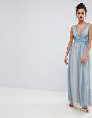 Little Mistress Full Tulle Maxi Dress With Embroidery