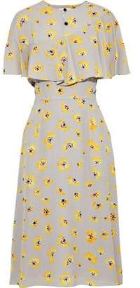 Novis The Golden Layered Floral-print Silk Crepe De Chine Midi Dress