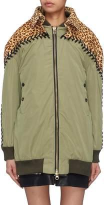 YOHANIX Leopard print leather yoke lace-up jacket