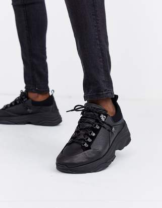 Selected chunky sole premium leather trainer in black